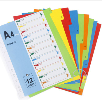 A4 File Folder Divider Printing Paper Card Index 12 Color Divers With Index Cover (3 Sets) comix ix894 paper index card a4 11 holes for documents file display free shipping