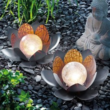 Ball-Decoration Lotus-Flower Solar Path-Light Dreamy-Lighting-Effect Led Outdoor Street-Lamps