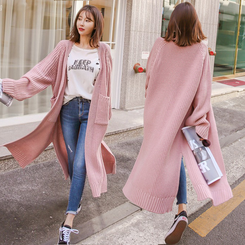Casual Streetwear Lantern Sleeve Korean Long Stitch Sweater Fashion Woman Oversize Cardigan Warm Knitting Loose Coat