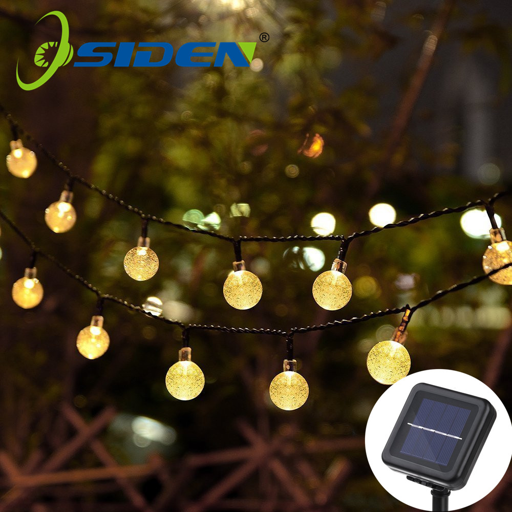 Solar Lamp 5M 20Led Crystal Ball Globe luz Waterproof Warm White Fairy Light Garden Decoration Outdoor Solar Led String