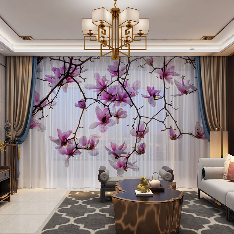 3D Customized Photo Floral  Curtains Drape Panel Sheer Tulle 3D Window Curtains For Living Room Door Kitchen Bedroom