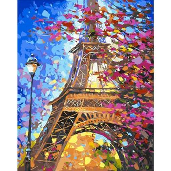 RUOPOTY 60x75cm Frame DIY Painting By Numbers Kits Paris Tower Landscape Picture By Number Acrylic Draw On Canvas For Diy Gift