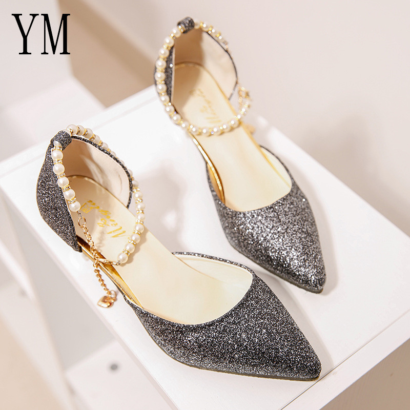 Sexy Pointed toe Pearl High heels shoes Female Fashion hollow with Sandals Paillette of the Thin Breathable shoes Women Pumps 4