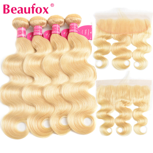Beaufox 613 Bundles With Frontal Brazilian Body Wave 4 Bundle With Frontal Closure Remy Blonde Human Hair Bundles With Closure