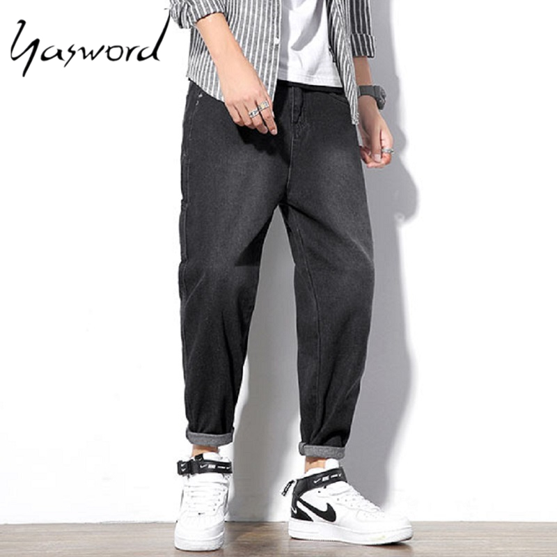 Yasword Men Straight Black Jeans Denim Pants Loose Spring Autumn Comfortable Trousers Casual Fashion Washed