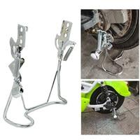 Mountain bike rack de estacionamento traseiro preto estável ferro duplo perna montar suporte da bicicleta kickstand Acessórios para bicicleta elétrica     -