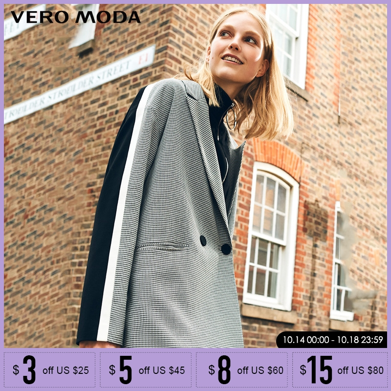 Vero Moda Winter Stripe Business Knitted Houndstooth Suit Jacket Plaid Women Long Blazer|318308536