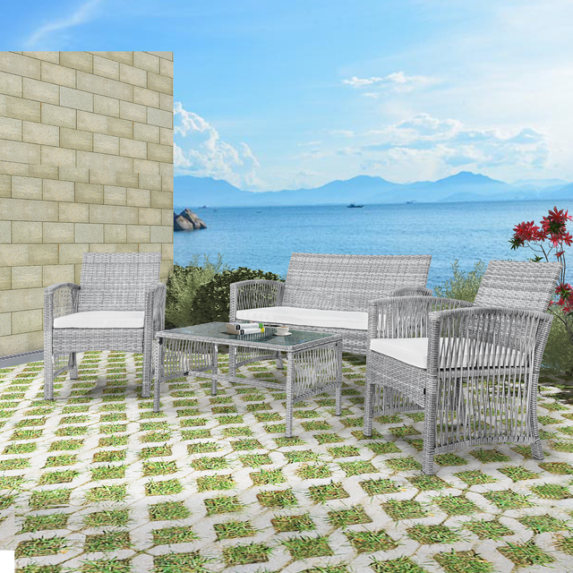 8 Pieces Outdoor Furniture Rattan Chair & Table Patio Set Outdoor Wicker Sofa for Garden Backyard Porch and Poolside 2