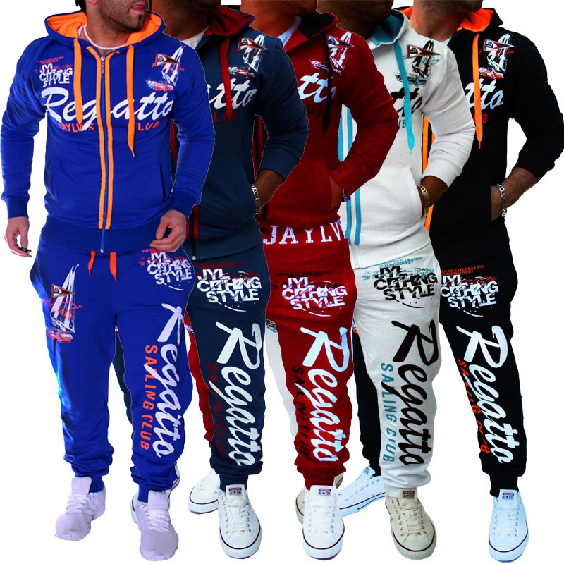 ZOGAA 2019 Mens Hooides+Pants 2pcs O-Neck Set Male Letter Printed Fashion Fitness Running Track Suit Casual Patchwork Men Sets