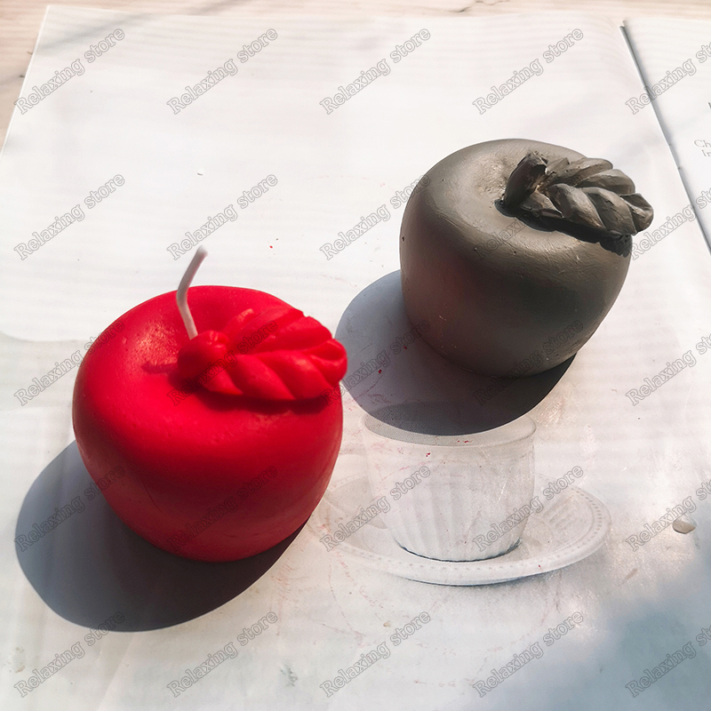 3D Apple Aromatherapy Candle Mold Creative Concrete Plaster Silicone Molds Fruit Soap Candle Mould