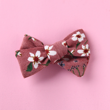 Corduroy Kids Bows Hairpins Floral Print Hair Clips For Children Cute Baby Barrettes Children Headwear Infant Hair Accessories