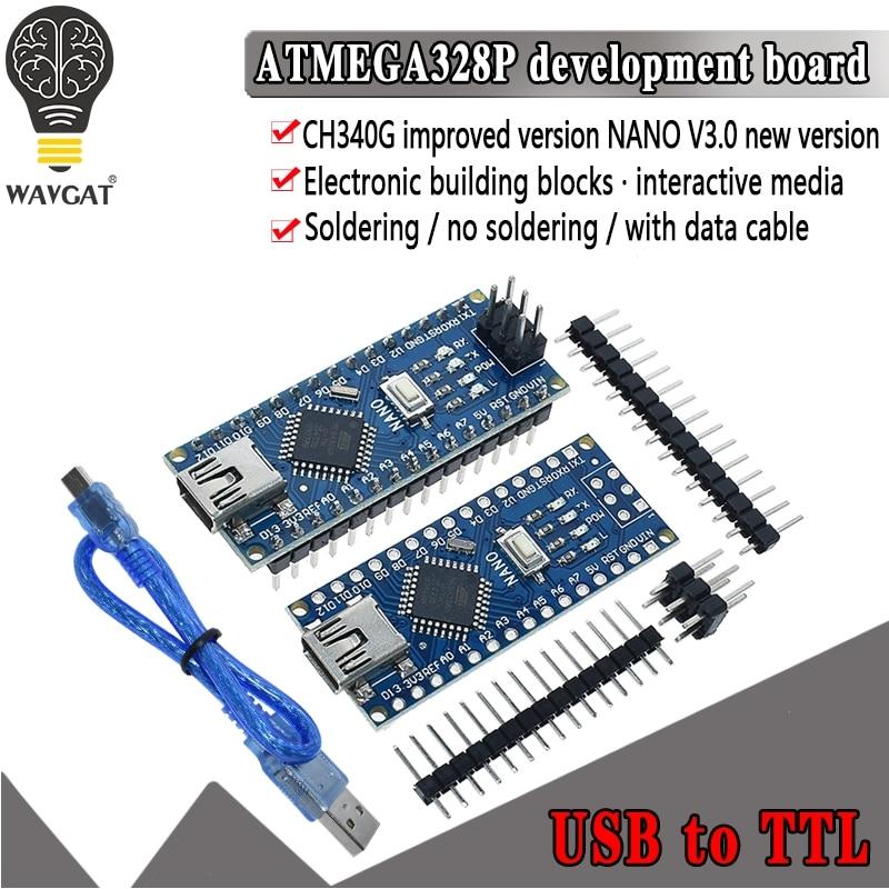 1 pces promoção para arduino nano 3.0 atmega328 controlador placa compatível wavgat módulo pcb placa de desenvolvimento sem usb v3.0