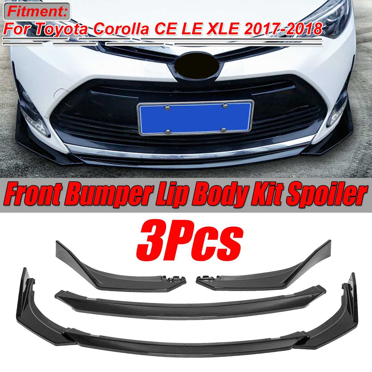 For 2018 2019 Toyota Camry SE//XSE 3PCS Front Bumper Lip Body Kit Spoiler Wing