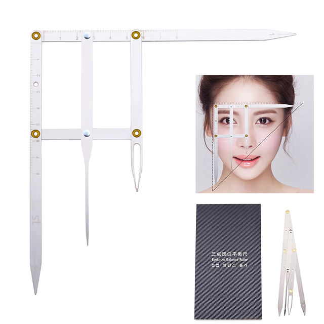 Microblading Eyebrow Tattoo Ruler Golden Ratio Permanent Grooming Stencil Shaper Symmetrical Stainless Steel Eyebrow Makeup Tool