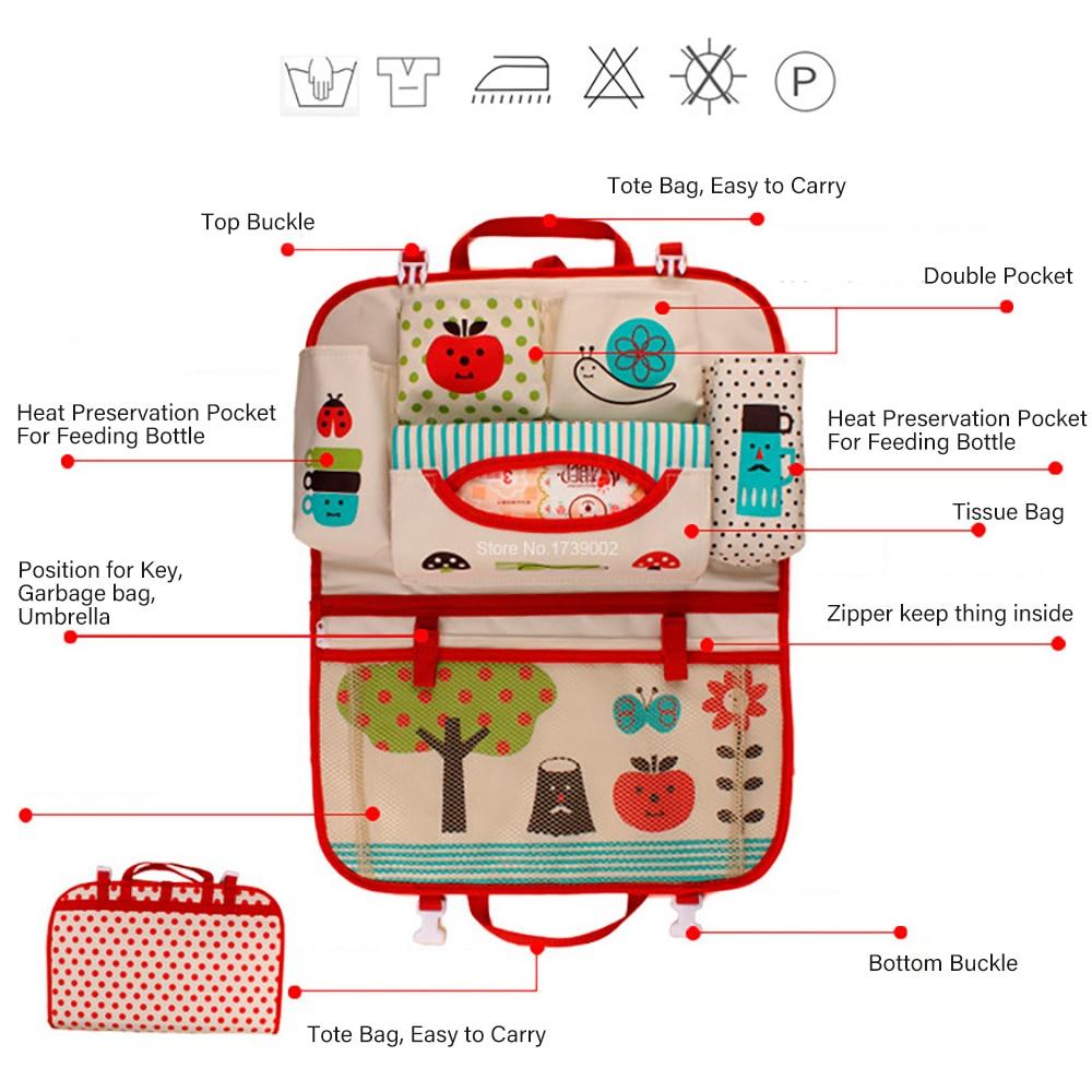Купить с кэшбэком Cartoon diaper baby bag for mom, Car Seat Organizer Thermal Insulated, bolsas maternidade para bebe