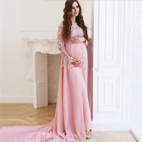 Pink Long Sleeve Sexy Prom Dresses 2020 Dubai Couture Maternity Photography Middle East African Chiffon Evening Pregnant Gown