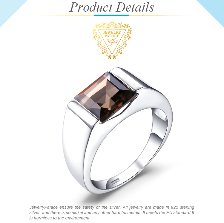Hd65f2e9fa69543db8a156bfee58a206dP JewPalace Genuine Smoky Quartz Ring 925 Sterling Silver Rings for men Wedding Rings Silver 925 Gemstones Jewelry Fine Jewelry