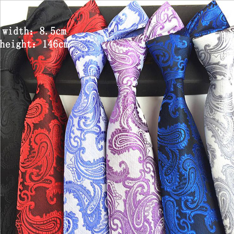 Classic Paisley Silk Neck Tie Red White Black 8.5cm Tie For Man Business Wedding Ties Neckwear Gift Jacquard Weave Necktie