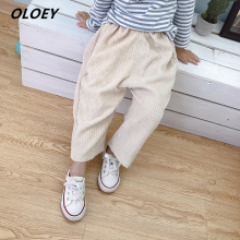 OLOEY Girls Autumn Pants 2019 New Childrens Corduroy Casual Fashion Harem 2-7 Years Old Comfortable Elastic Waist