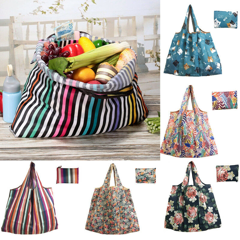 Casual Nylon Shopping Bags Tote ECO Reusable Polyester Portable Shoulder Bag Foldable Pouch Shopping Bag Folding Grocery Bag