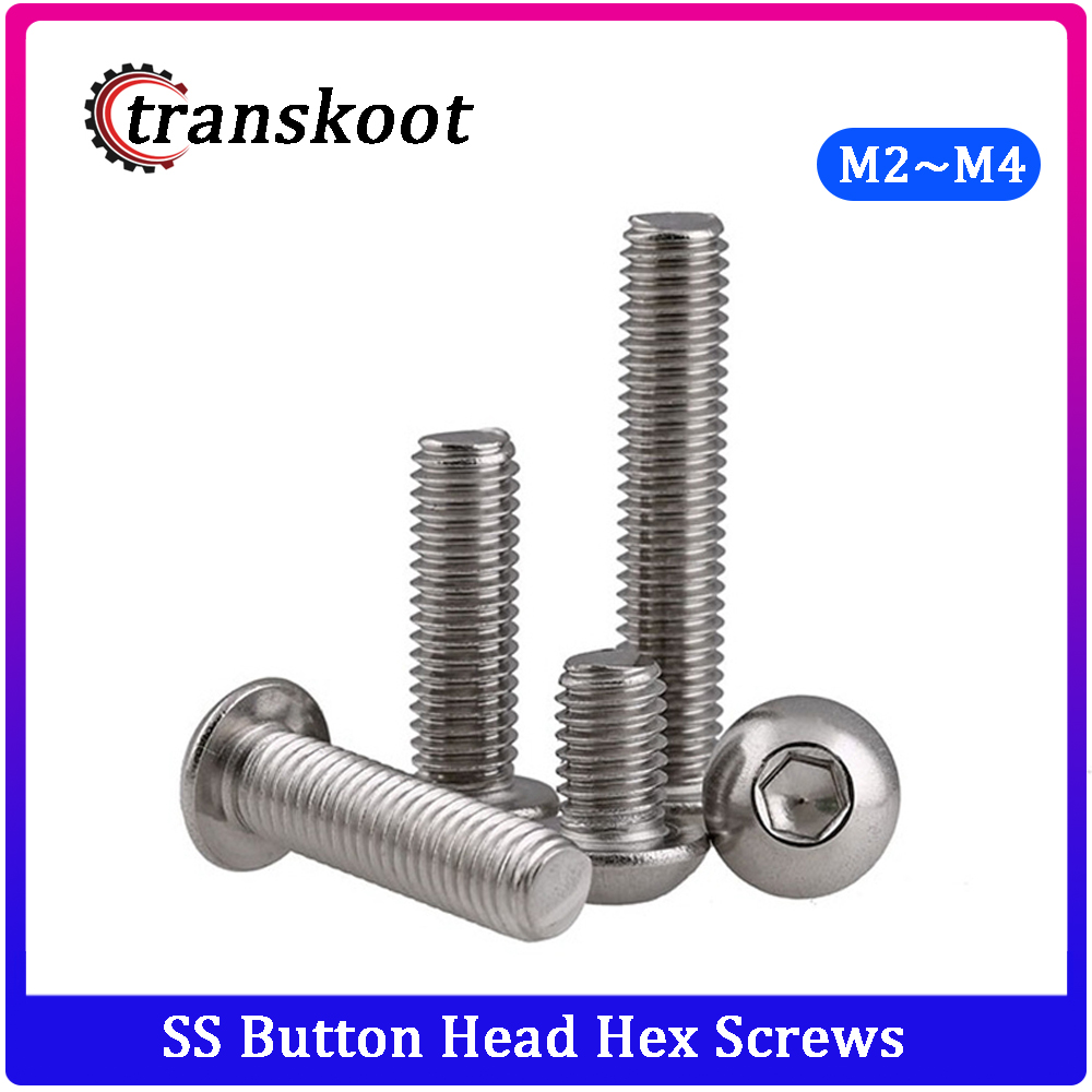 4MM M4 HEX SOCKET ROUND BUTTON HEAD ALLEN BOLTS SCREWS A2 304 STAINLESS STEEL