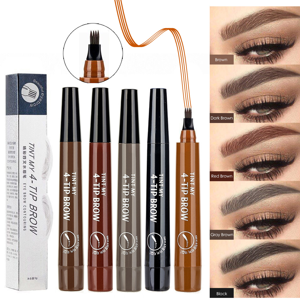 Eyebrow Pencil 4 claw Tattoo Pen Professional Long Lasting Waterproof Microblading Fine Sketch Liquid Eye Cosmetics Brow Pencil(China)