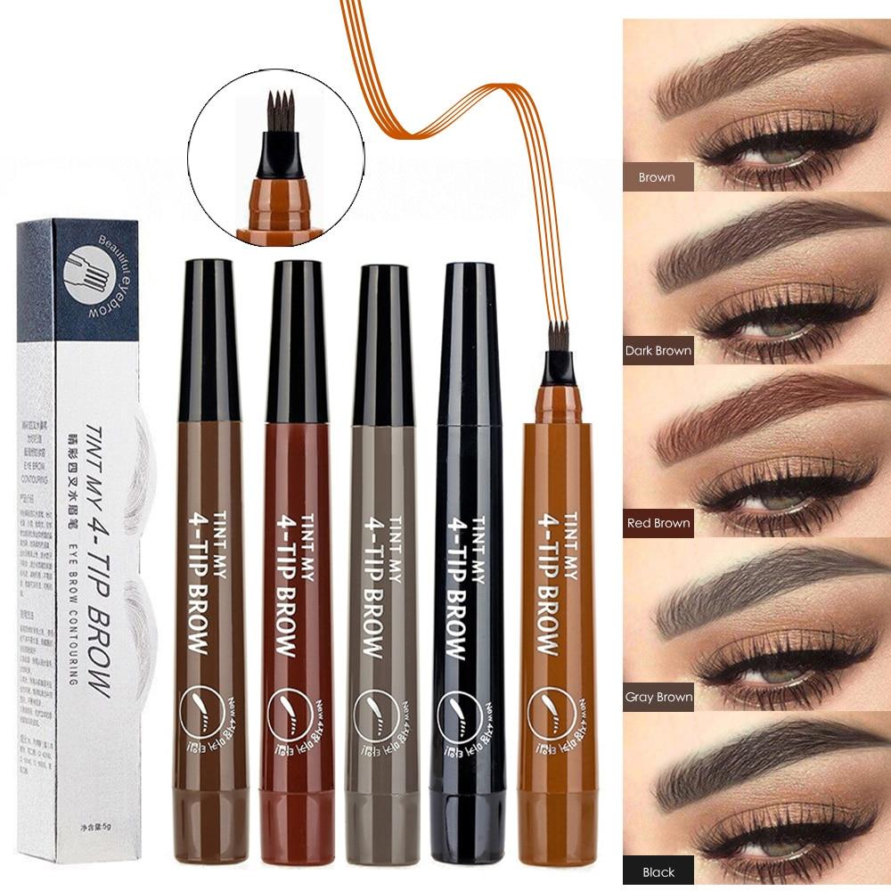 Eyebrow Pencil 4 Claw Tattoo Pen Professional Long Lasting Waterproof Microblading Fine Sketch Liquid Eye Cosmetics Brow Pencil