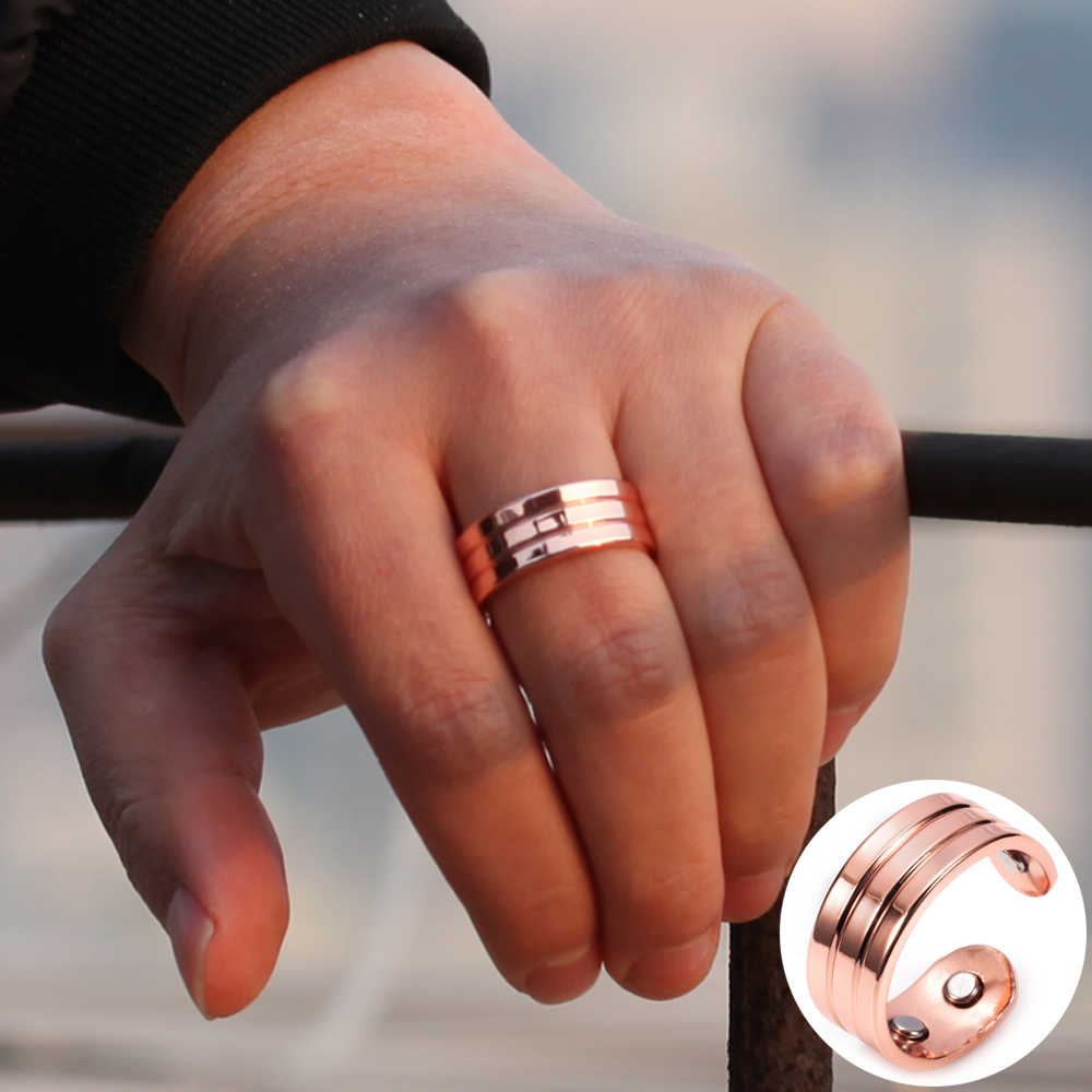 It is just an image of Vinterly Magnetic Copper Rings for Men Wide Trendy Health Energy