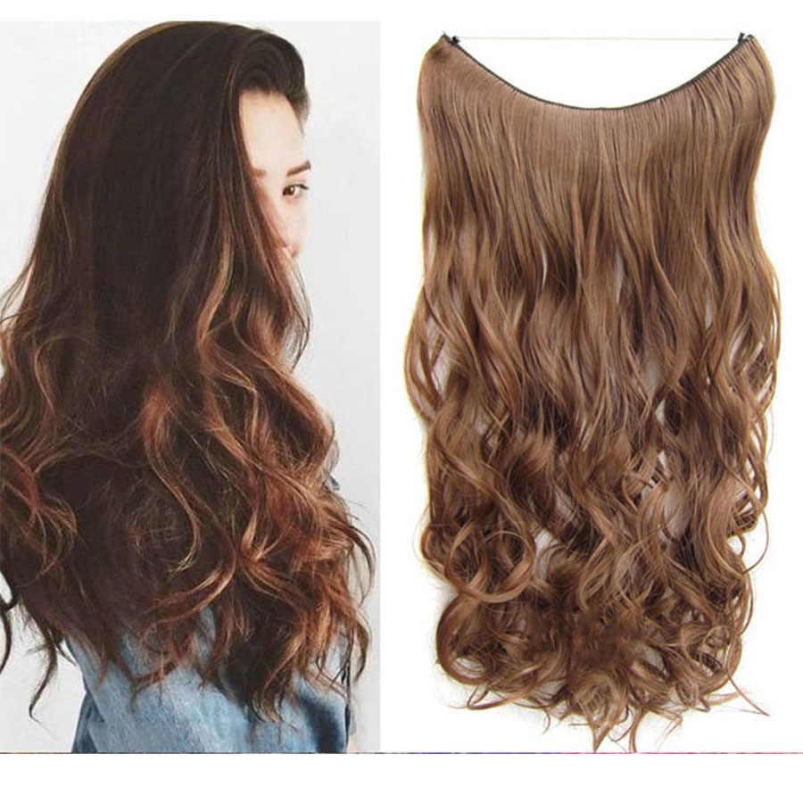 Lanlan feminino longo encaracolado cabelo onda grande uma peça peruca natural conjunto u-shaped sem emenda extensão do cabelo peruca peça bonito headwear