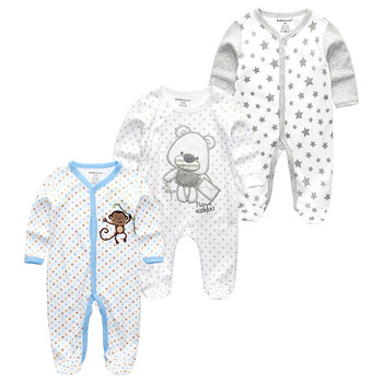 0-12Months Baby Rompers Newborn Girls&Boys 100%Cotton Clothes of Long Sheeve 1/2/3Piece Infant Clothing Pajamas Overalls Cheap - Baby Rompers RFL3118, 6M