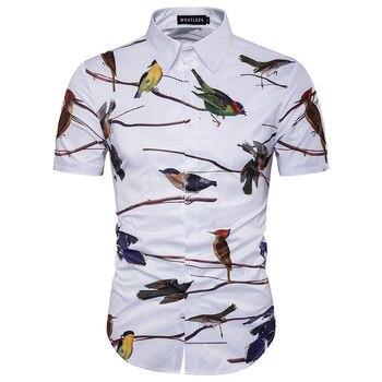 White Floral Bird Print Hawaiian Shirt Men 2019 Brand New Slim Fit Short Sleeve Dress Shirt Mens Streetwear Casual Hawaii Shirt