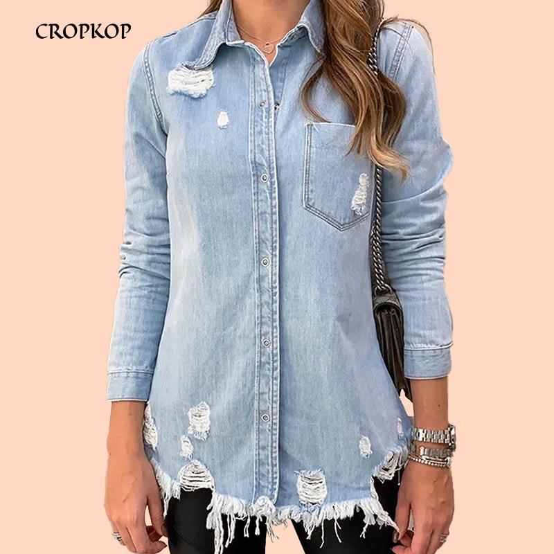 Women Denim Jacket Casual Long Sleeve Jeans Coat Mujer Turn-down Collar Hole Single-breaste Slim Pocket Woman Jacket Streetwear
