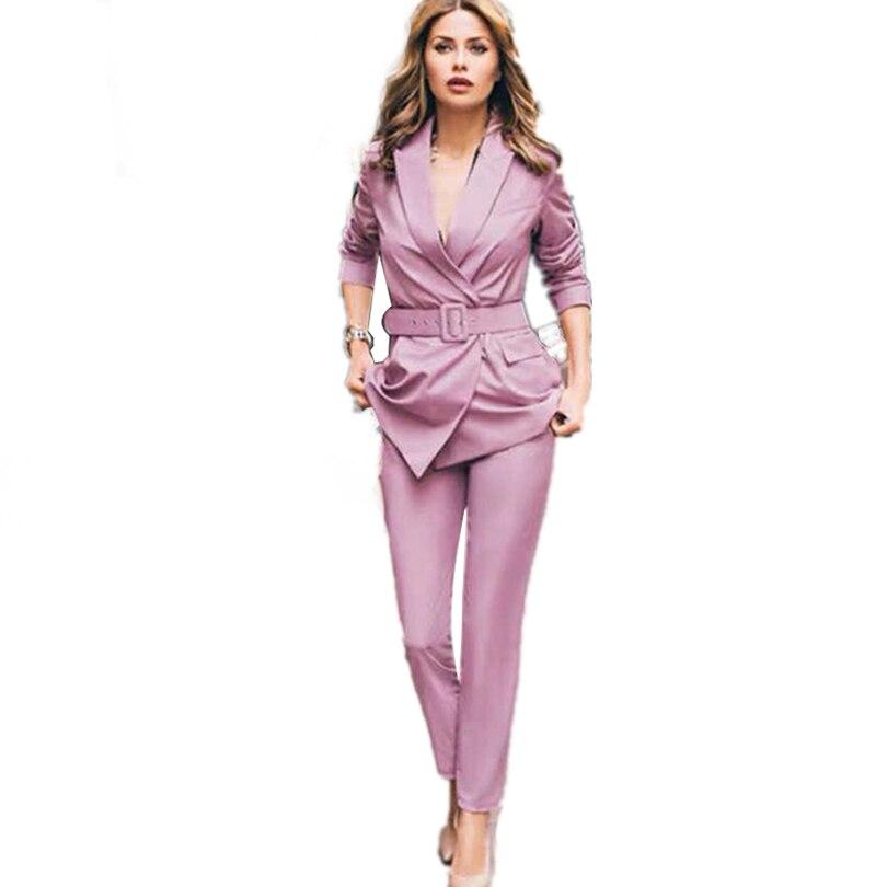 MVGIRLRU Office Lady Work Pants Suits Women Slim Long Sleeve Sashes Blazer + Straight Pants  Elegant Two Piece Set