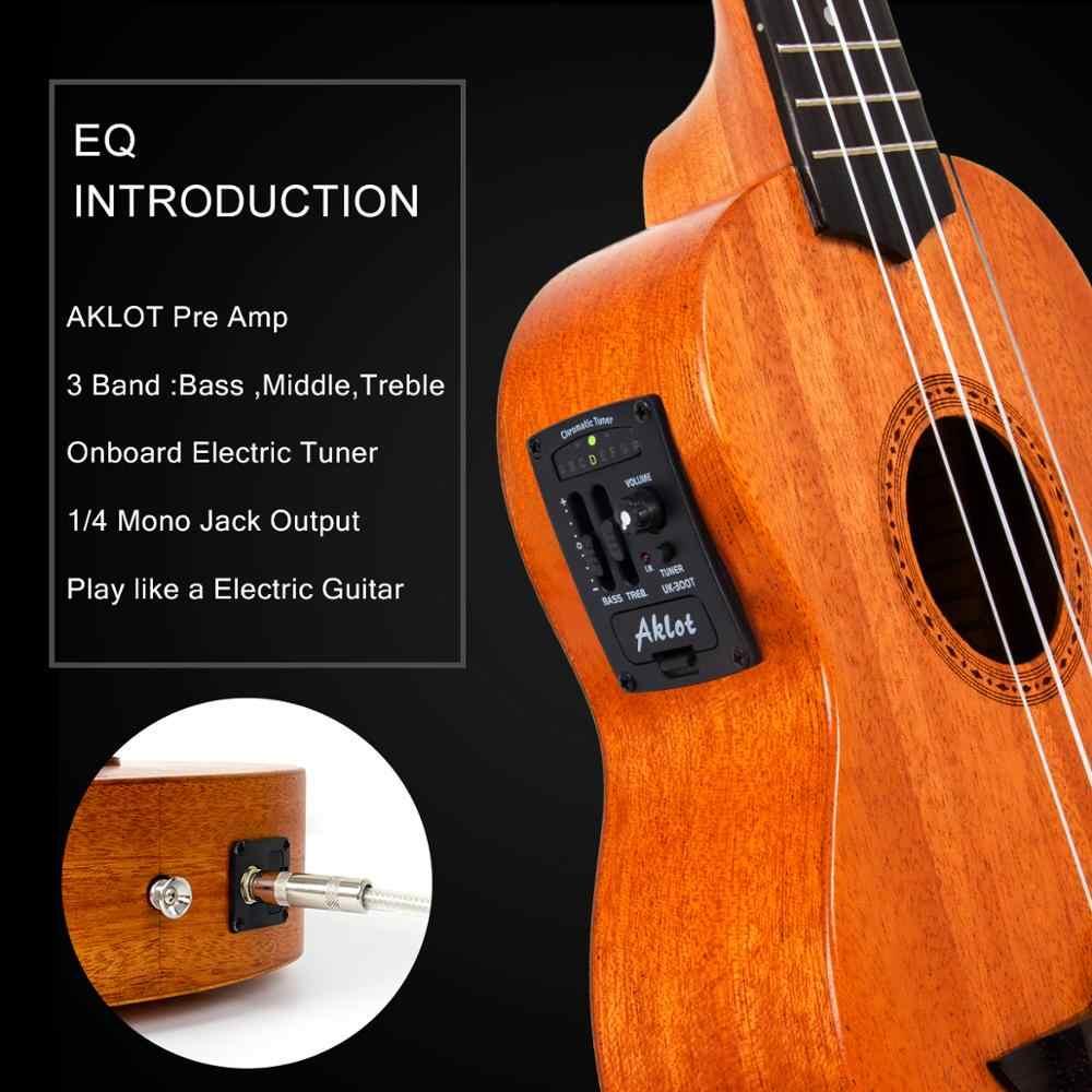 Aklot eléctrico Ukelele caoba sólida con vídeo en línea Ukelele Soprano concierto Tenor Uke guitarra de 4 cuerdas con sintonizador de cuerda de correa