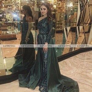 Image 2 - Dubai Emerald Green One Shoulder Evening Dress Detachable Train Long Sleeve Mermaid Arabic Formal Dresses Muslim Long Party Gown