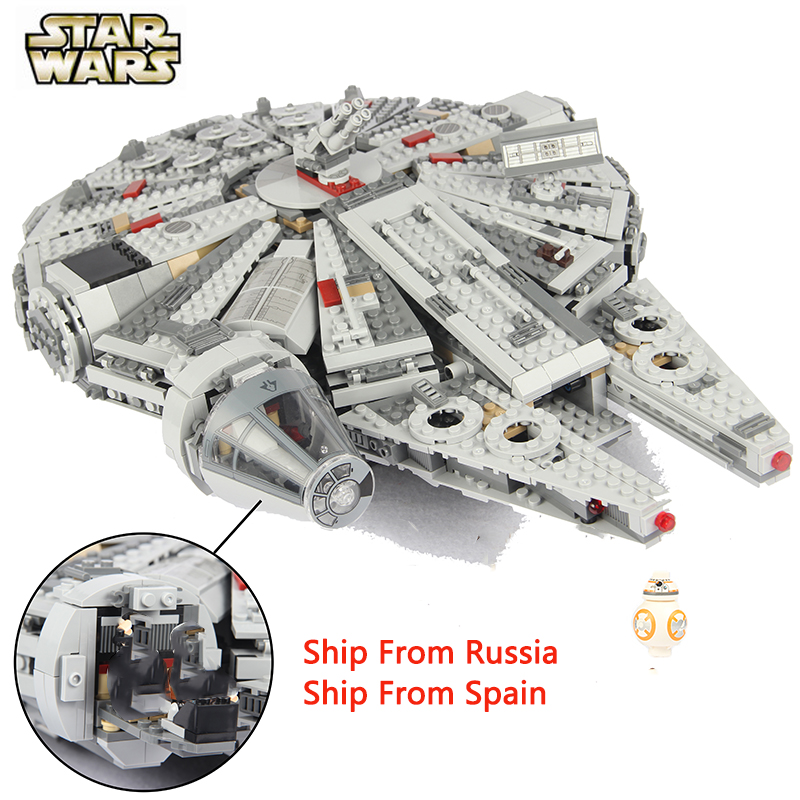 For Legoing Star Wars Force Awakens Millenary Falcon For Legoed Movie 2 Starwars Figures Star War Space Ship Building Blocks Toy