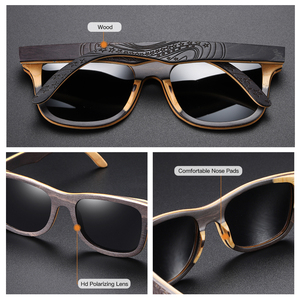 Image 4 - GM Polarized Sunglasses Women Men Layered Skateboard Wooden Frame Square Style Glasses for Ladies Eyewear In Wood Box S5832