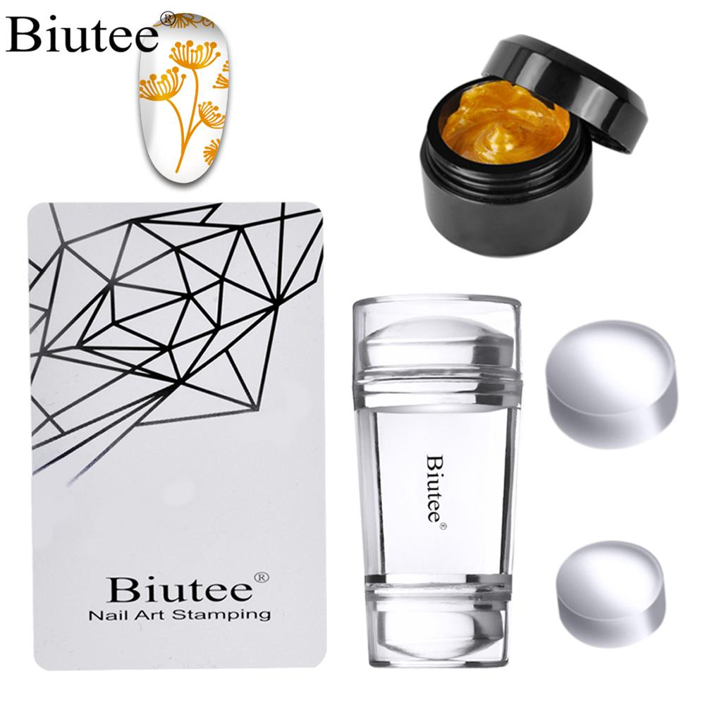 Buitee 12 Colors8ml  Nail Art Stamper Stamping Poly Gel  Nail Kit Gel Biutee Stamper Pure Clear Jelly Silicone Nail Stamping Set