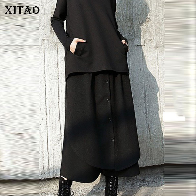 XITAO Street Women Pants Women Korea Fashion Patchwork High Waist Elastic Waist Pocket Elegant Wide Leg Pants 2019 WQR2040