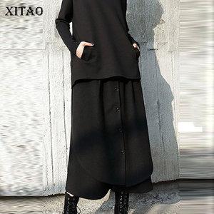 Image 1 - XITAO Street Women Pants Women Korea Fashion Patchwork High Waist Elastic Waist Pocket Elegant Wide Leg Pants 2019 WQR2040