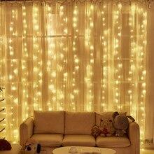3x 3/6x3m led ano novo guirlandas de natal led casamento fada luz da corda natal ao ar livre luz de fadas jardim festa cortina decoração