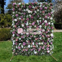 3D Artificial Flower Wall Panel Wedding Background Decoration Fake Flowers Flocking green leaf With Event