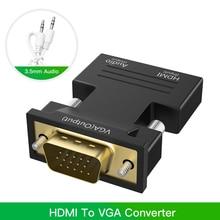 Robotsky 1080P Adapter HDMI do VGA na PC Laptop TV, pudełko projektor cyfrowy analogowy Audio wideo konwerter kabel