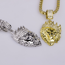 1pc Necklaces Pendants Mens Full Iced Rhinestone An Crown Lion Tag  Hip Hop Cuban Chain Necklace Gold Jewelry for Male