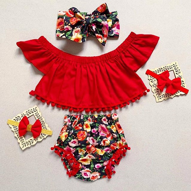 Summer Children Clothes Set Baby Casual Off-shoulder Floral Print Tops Romper Flower PP Shorts+Headband Outfits Set