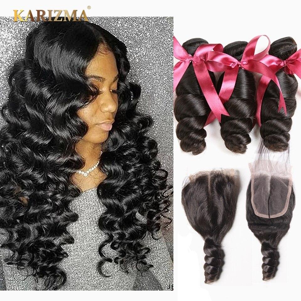 Karizma Brazilian Loose Wave Bundles With Closure 100% Human Hair Weave Bundles 3 Bundles With Closure Free Part Non Remy Hair