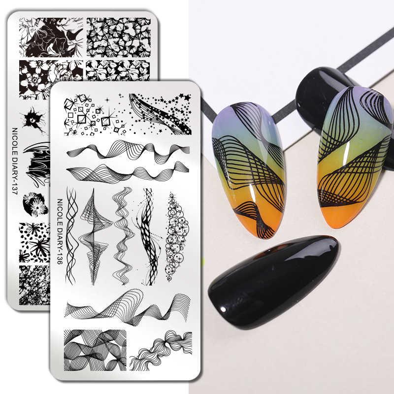 Nicole Diary Bunga Geometri Leopard Kuku Stamping Piring Template Bunga Hewan DIY Desain Cetak Stenci Manicur Alat