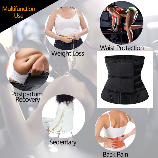 Black Slimming Belt Waist Trainer Corset Sauna Sweat Faja Sport Girdles Shaper Lumbar Trimmer Straps Modeling Women Shapewear 2
