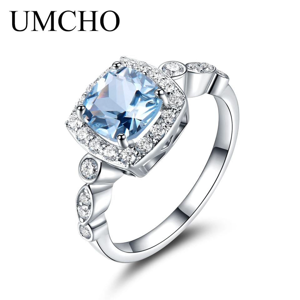 UMCHO Sterling Silver Rings Cushion Engagement Jewelry Aquamarine Gemstone Blue Women