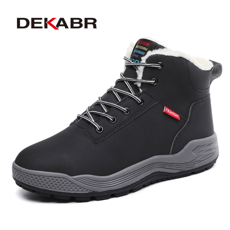 DEKABR High Quality Leather Men Boots Super Warm Short Plush Snow Boots Men Motorcycle Non Slip Working Boots Plus Size 39~48